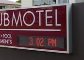 External illuminated signage with red led screen - City Golf Club